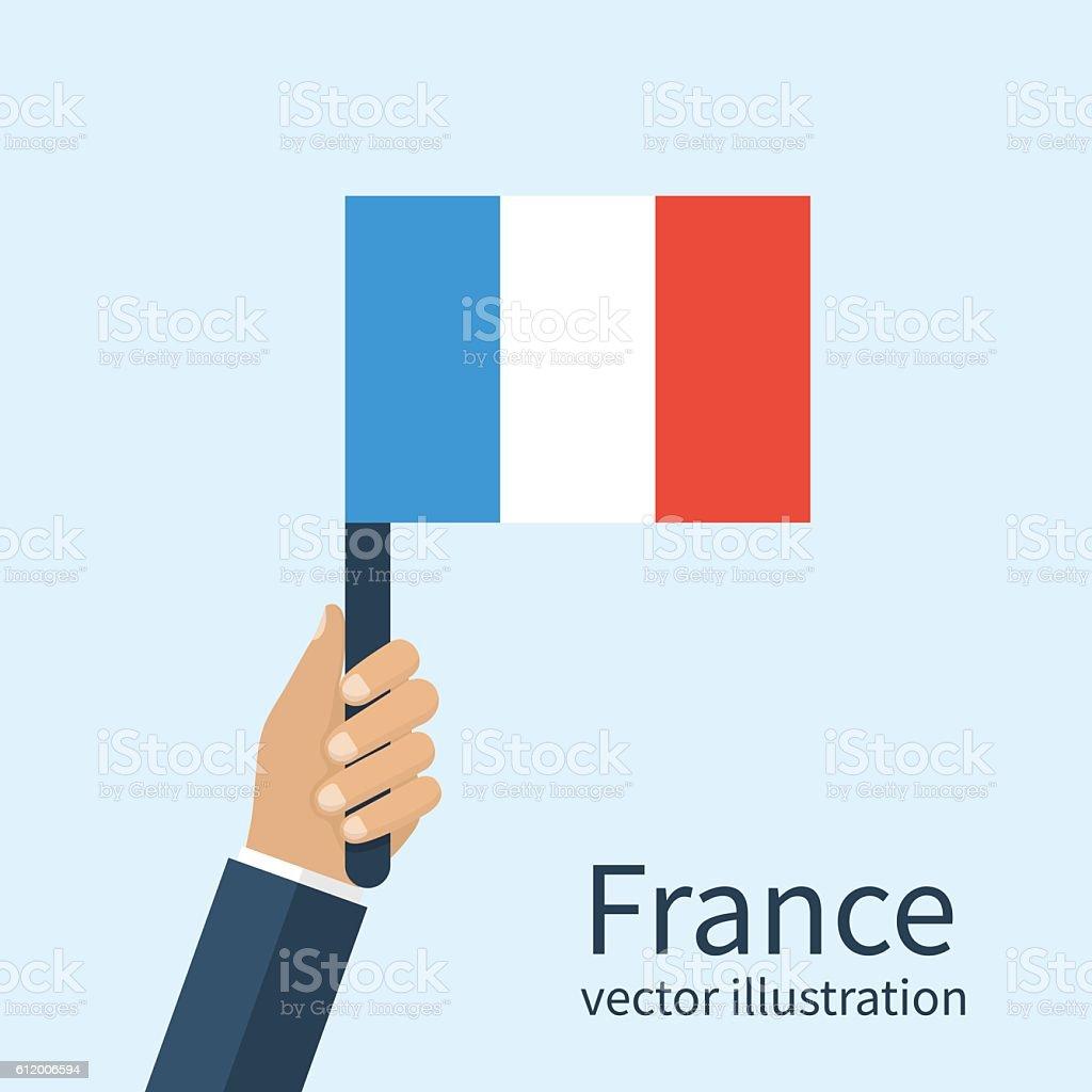 Flag France in hand vector art illustration