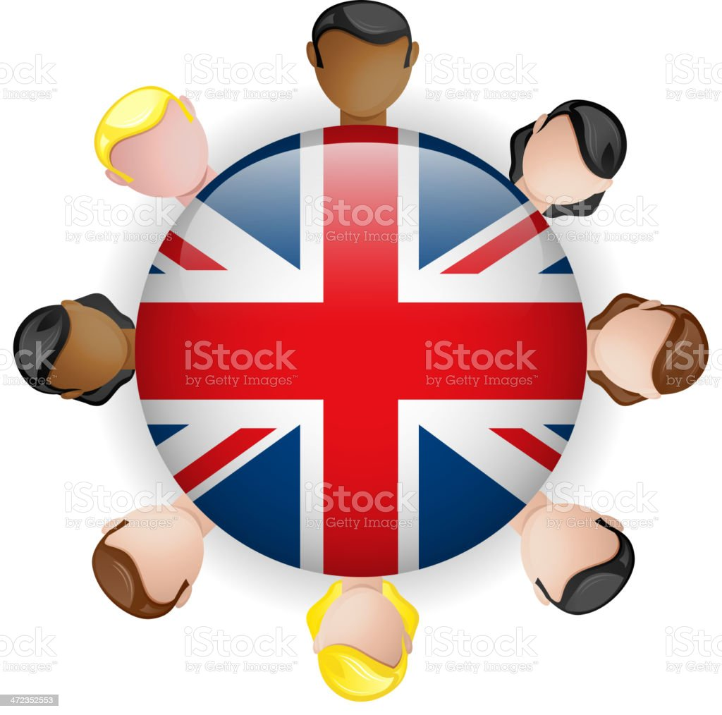 UK Flag Glossy Button with People royalty-free stock vector art