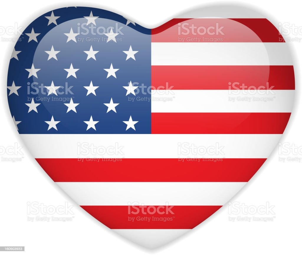 USA Flag Heart Glossy Button vector art illustration