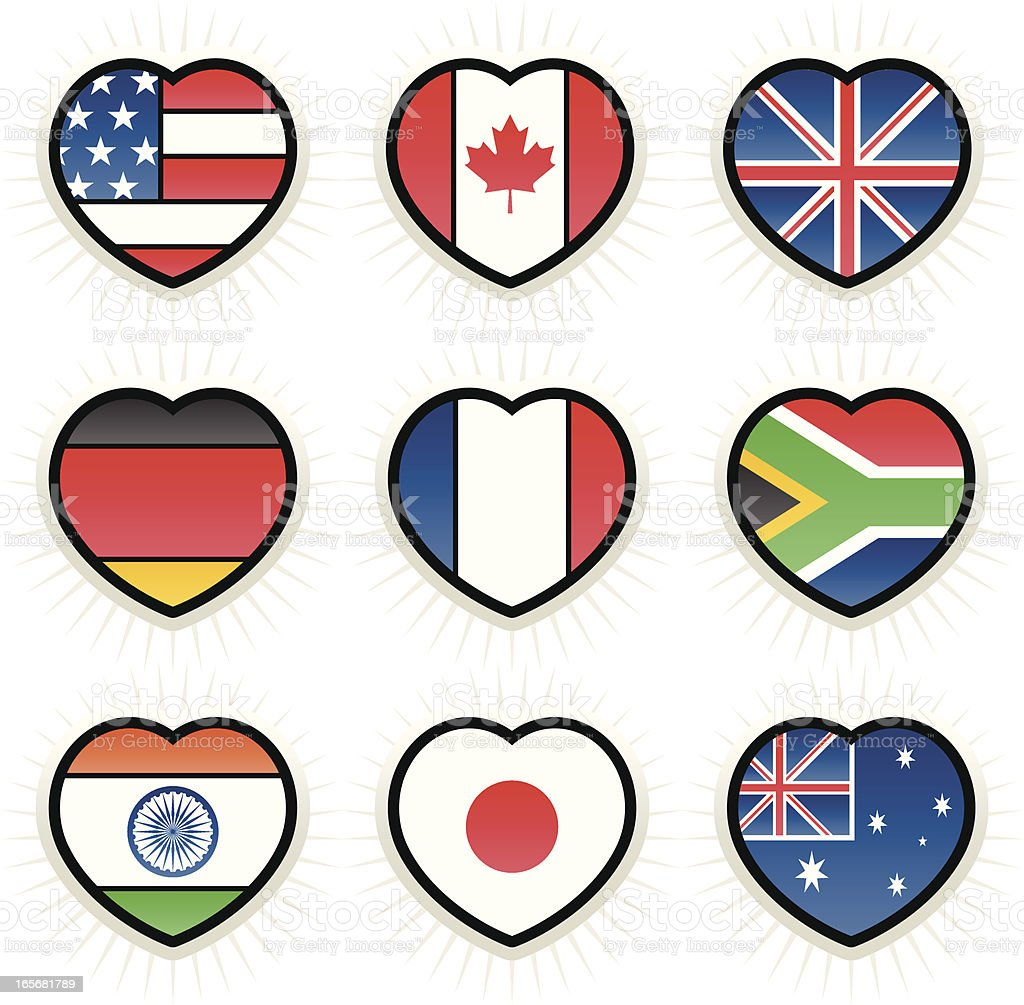 Flag Hearts royalty-free stock vector art