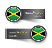 Flag icon and label with text made in Jamaica .