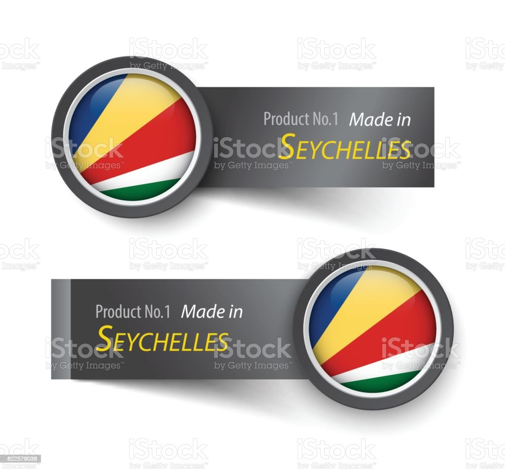 Flag icon and label with text made in Seychelles . vector art illustration