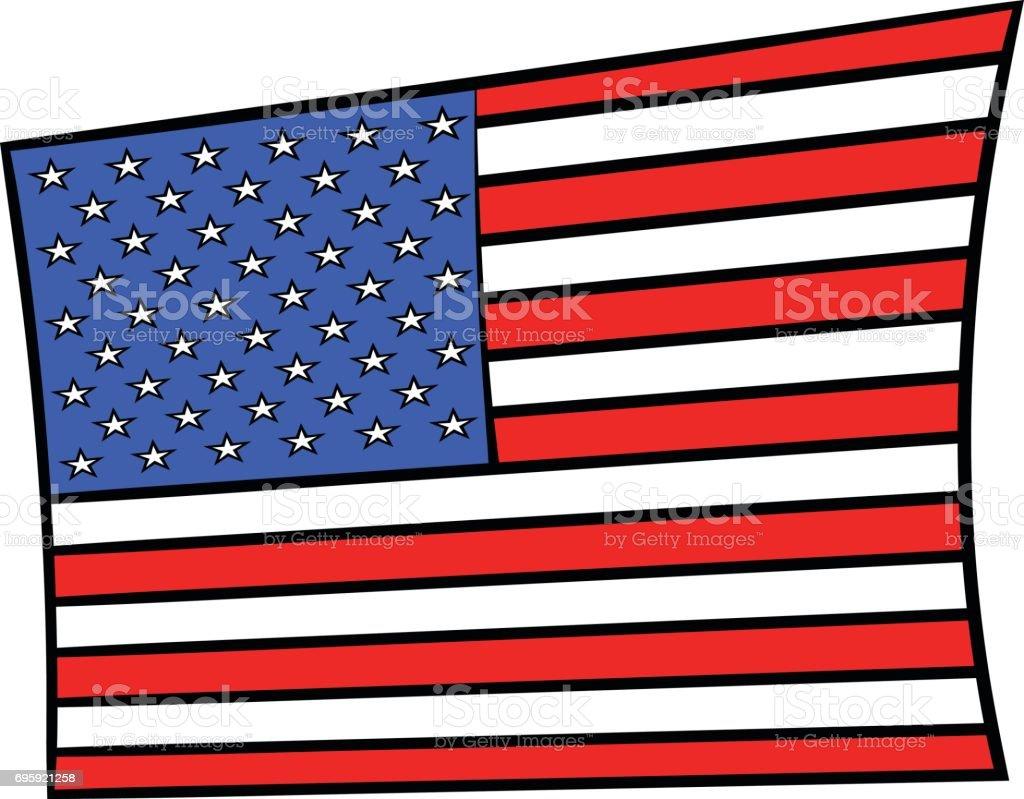Ilustración De Dibujos De Animados Icono Bandera De Estados Unidos Y