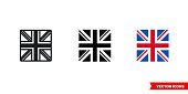 istock UK flag icon of 3 types. Isolated vector sign symbol 1257066023