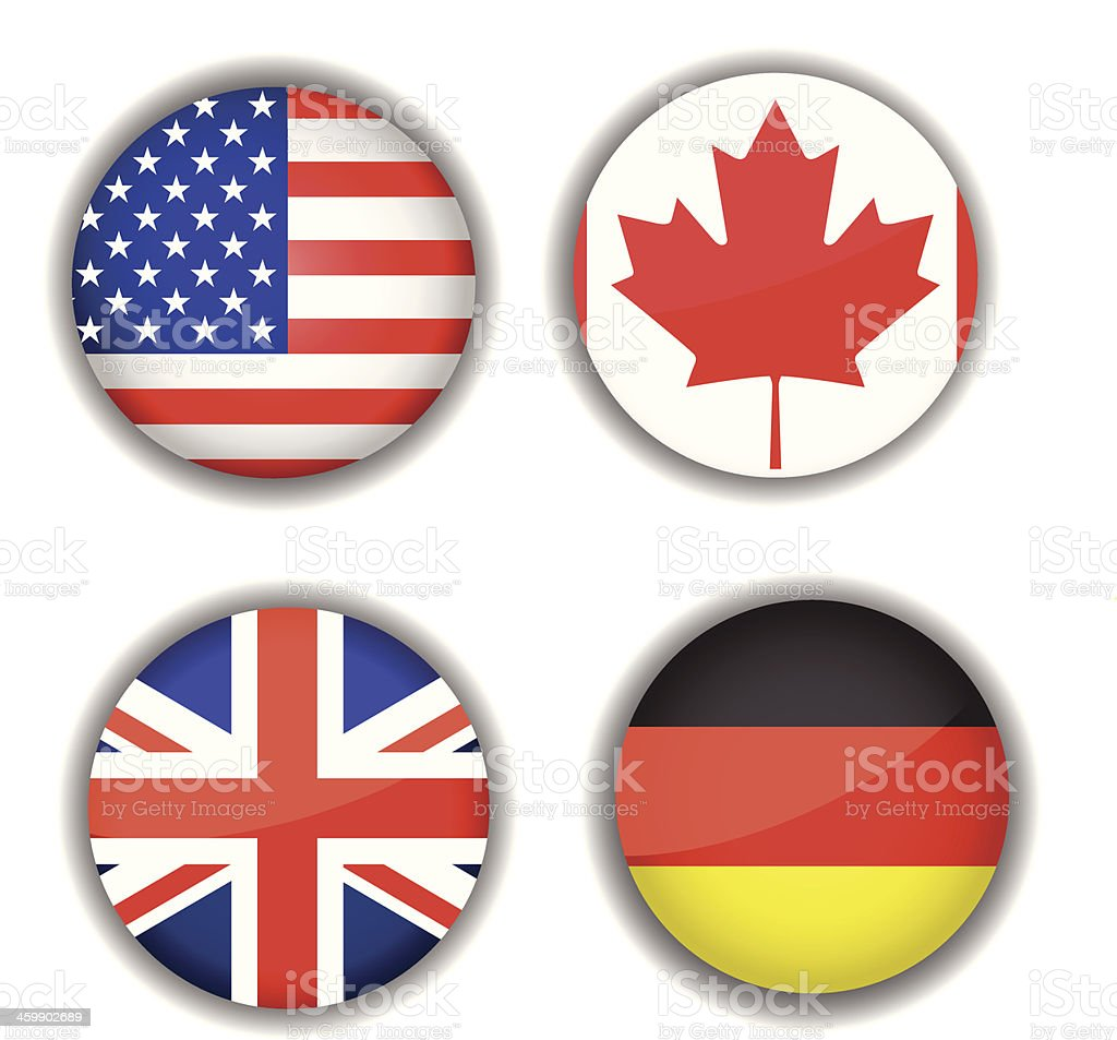 Flag icon set, Canada, British, Germany, USA vector art illustration