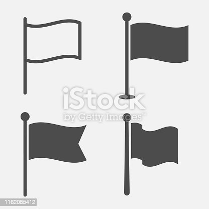 Flag icon set isolated on white background. Vector illustration. Eps 10.