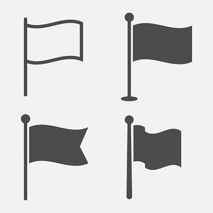 Flag icon set isolated on white background. Vector illustration.