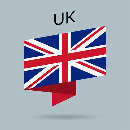 UK flag icon. United Kingdom, British national emblem in origami style. Vector illustration.