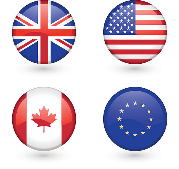 Flag icons vector art illustration