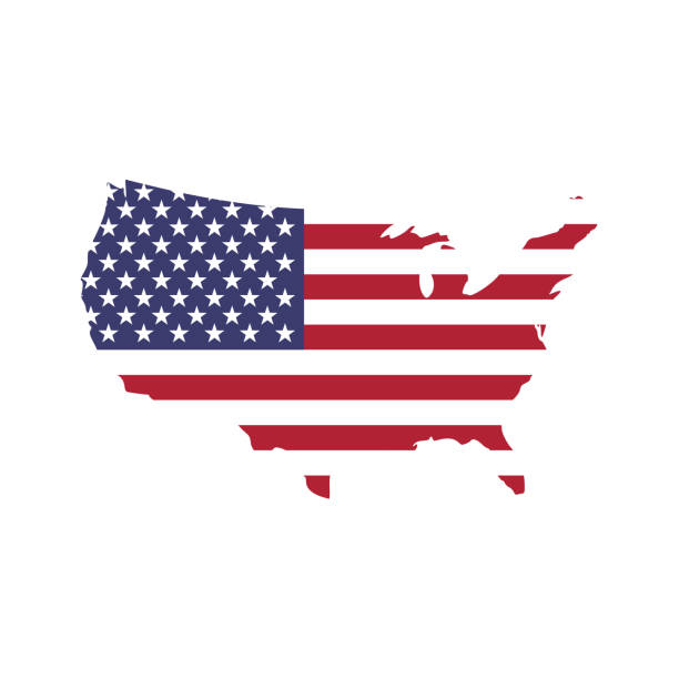 usa flag in a shape of us map silhouette. united states of america symbol. eps10 vector illustration - us flag stock illustrations