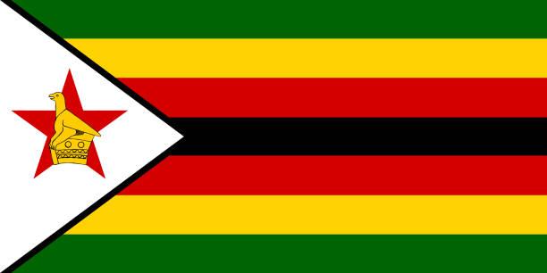 flagge in den farben von simbabwe, vektor-bild - salisbury stock-grafiken, -clipart, -cartoons und -symbole
