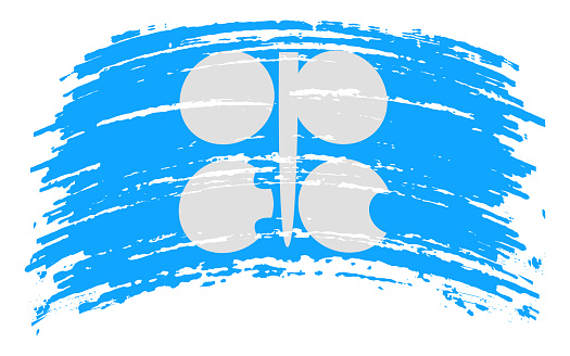 OPEC flag in grunge brush stroke, vector