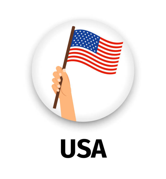 USA flag in hand, round icon vector art illustration