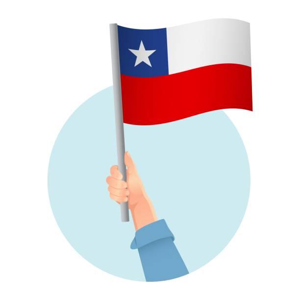 ilustraciones, imágenes clip art, dibujos animados e iconos de stock de bandera en la mano - bandera de chile