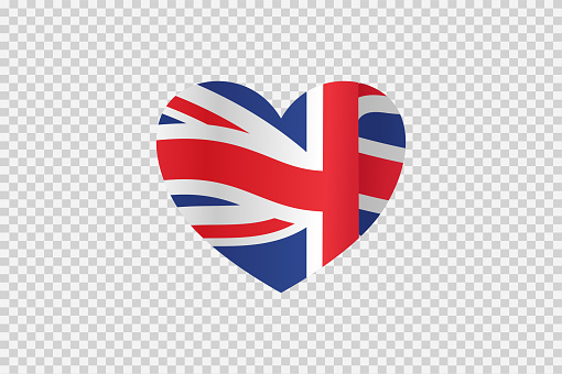 UK flag in heart shape isolated  on png or transparent  background,Symbols of United Kingdom,Great Britain , template for banner,card,advertising ,promote,ads, web design, magazine, news paper,vector