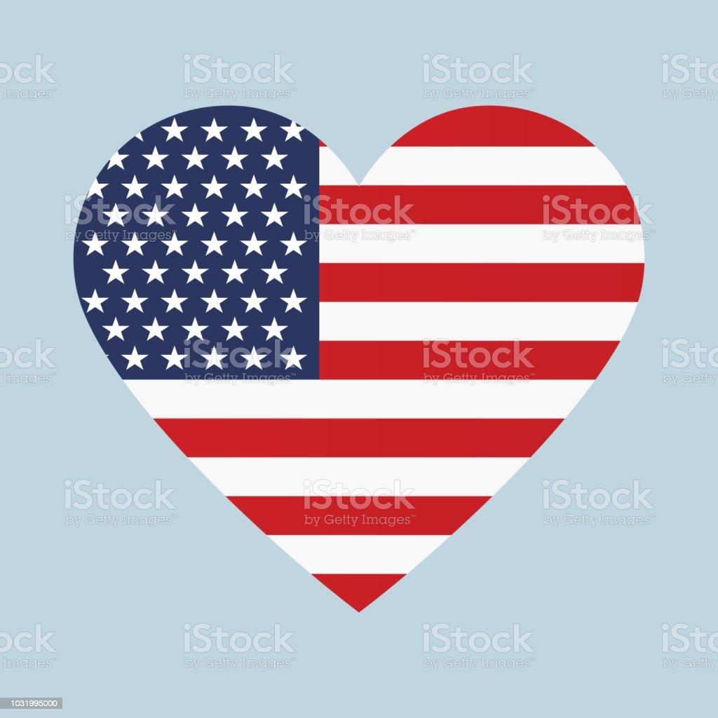 USA flag in heart shape vector vector art illustration