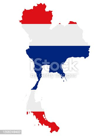 istock Flag in map of Thailand 1205249402