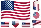 USA national flag. Vector illustration. 3 layers. Shadows, flat flag you can use it separately, sticker. Collection of 220 world flags. Accurate colors. Easy changes.
