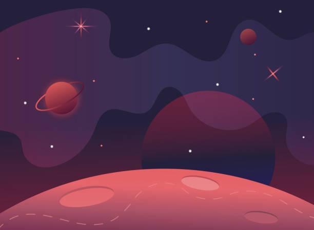 flag in space.milky way.red-planeten-landschaft-vektor-illustration. hintergrund für text. oberfläche des planeten krater. dekoration raumgestaltung. sterne und kometen auf sternenhimmel background.cosmic banner - milky way stock-grafiken, -clipart, -cartoons und -symbole