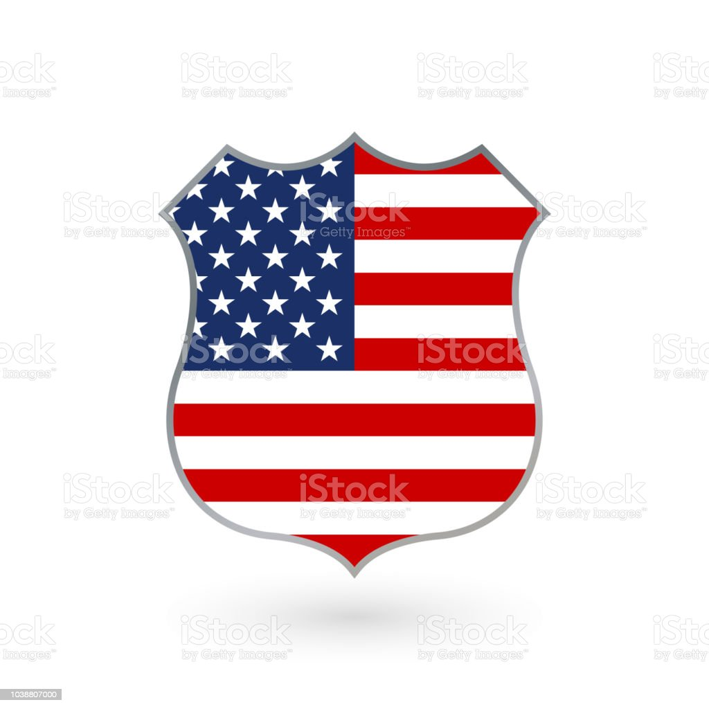 Us Flag In The Shape Of A Police Badge American Flag Icon United States Of  America National Symbol Vector Illustration Stock Illustration - Download