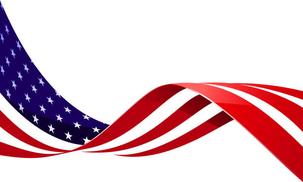 flag in wind - american flag stock illustrations