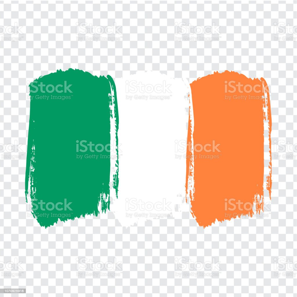 Flag Ireland, brush stroke background.  Flag Republic of Ireland on transparent background. Painted texture. Stock vector.  Flag for your web site design, , app, UI. Vector illustration EPS10. vector art illustration