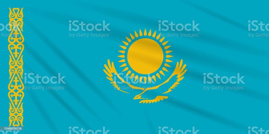 Flag Kazakhstan swaying in the wind, realistic vector. vector art illustration