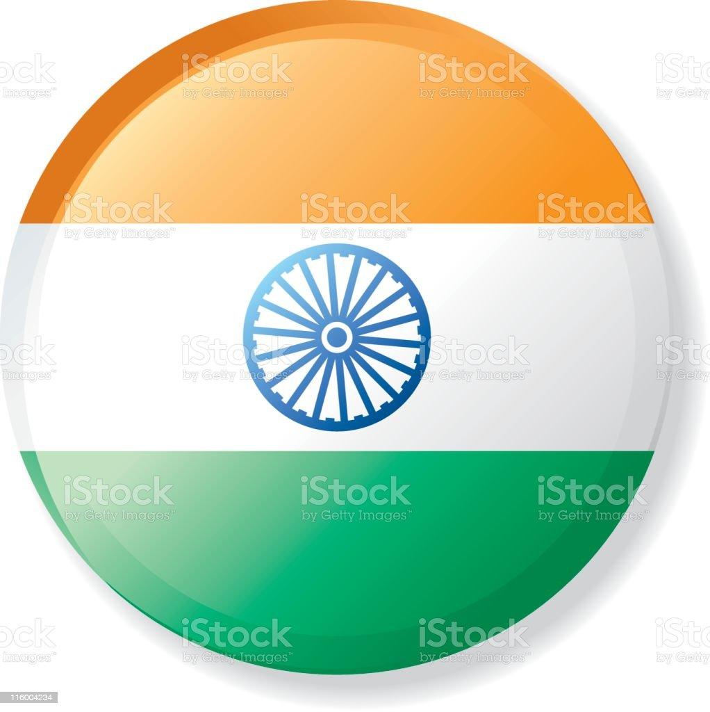 Flag Lapel Button - India vector art illustration