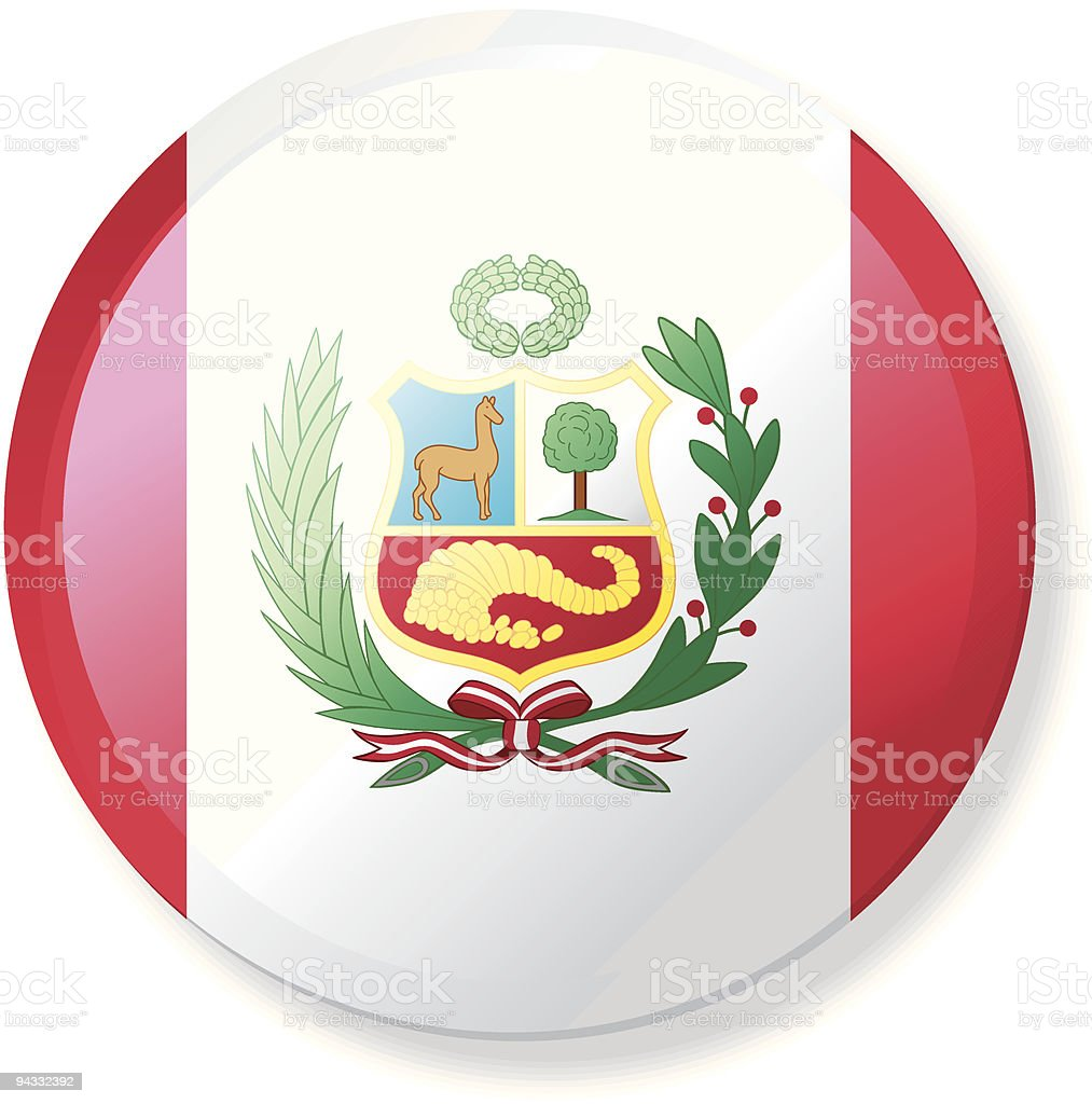 Flag Lapel Button - Peru vector art illustration