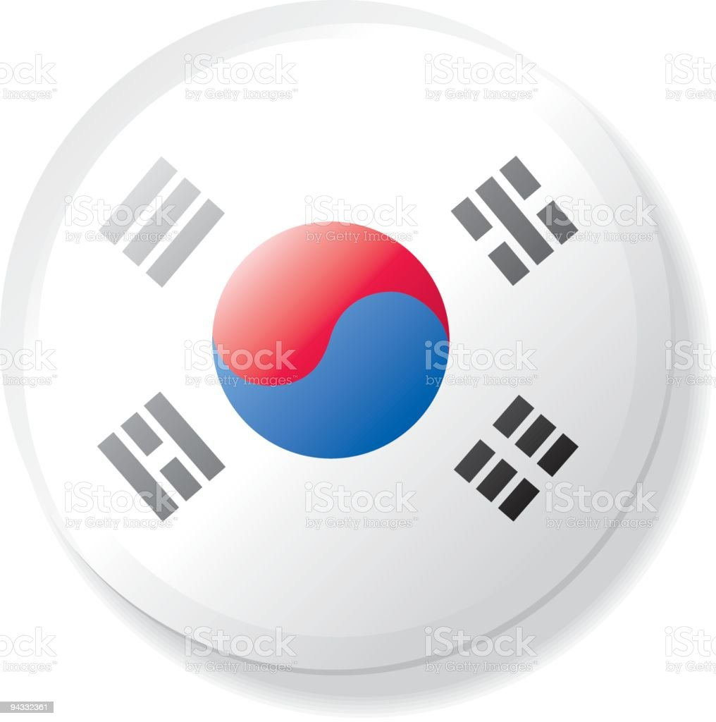 Flag Lapel Button - South Korea royalty-free stock vector art