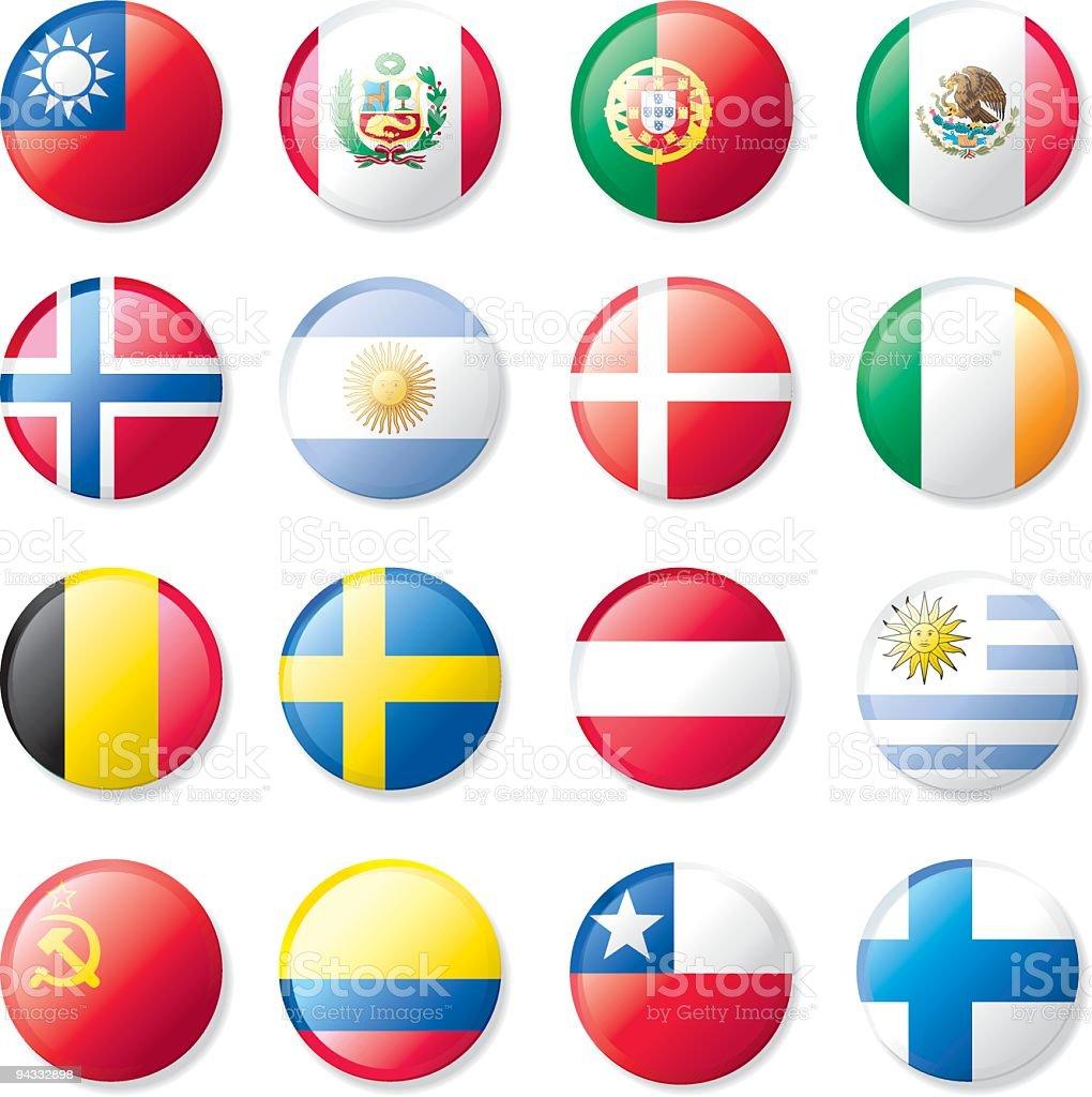 Botones de bandera de la solapa - ilustración de arte vectorial
