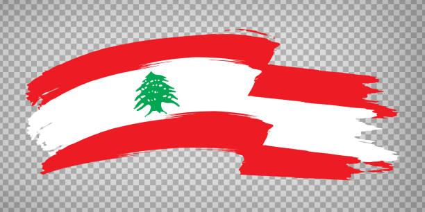 flagge libanon von pinselstrichen.  flagge libanesische republik auf transparentem hintergrund für ihre website-design, logo, app, ui. aktienvektor. vektor-illustration eps10 - beirut stock-grafiken, -clipart, -cartoons und -symbole