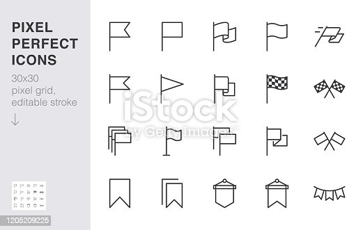 Flag line icon set. Checkered flags, location marker, waving pennant, bookmark, pin minimal vector illustrations. Simple outline signs for web map application. 30x30 Pixel Perfect. Editable Strokes.
