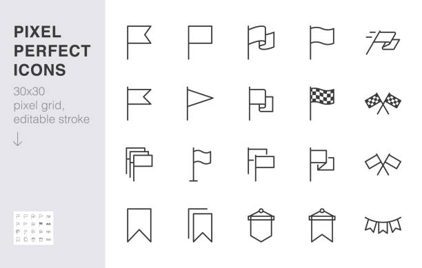 Flag line icon set. Checkered flags, location marker, waving pennant, bookmark, pin minimal vector illustrations. Simple outline signs for web map application. 30x30 Pixel Perfect. Editable Strokes Flag line icon set. Checkered flags, location marker, waving pennant, bookmark, pin minimal vector illustrations. Simple outline signs for web map application. 30x30 Pixel Perfect. Editable Strokes. flagpole stock illustrations