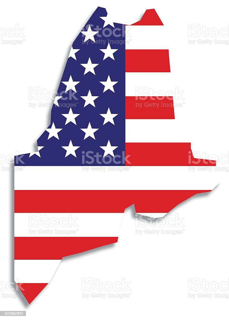 Usa Flag Maine Map Stock Vector Art  IStock - Us flag and map
