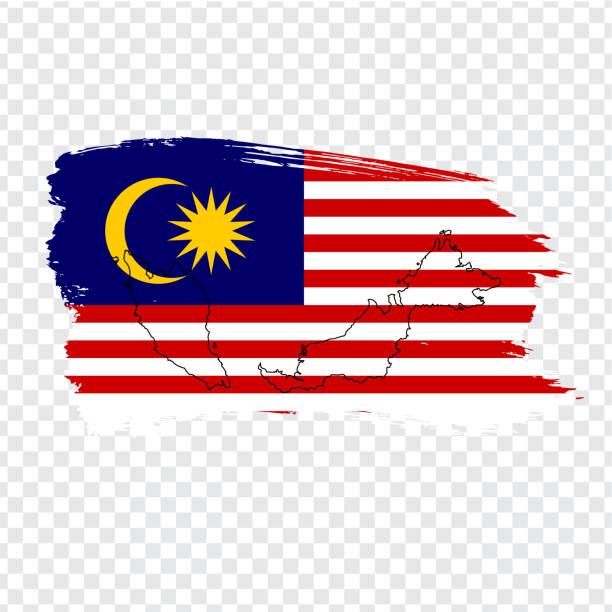 flagge von pinselstrichen und leere karte malaysia malaysia. hochwertige karte von malaysia und flagge auf transparentem hintergrund. aktie vector. vektor-illustration eps10. - kuching stock-grafiken, -clipart, -cartoons und -symbole