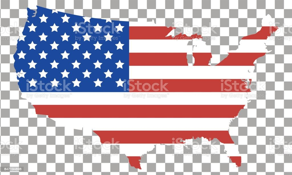 Usa Flag Map Isolated On Transparent Background Stock Vector Art