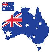 Flag map of Australia