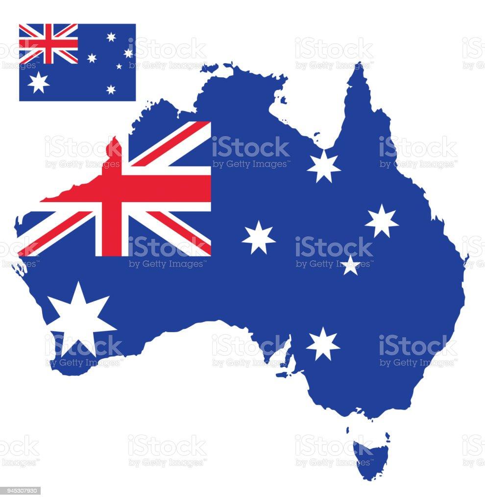 オーストラリアの旗の地図 ベクターアートイラスト