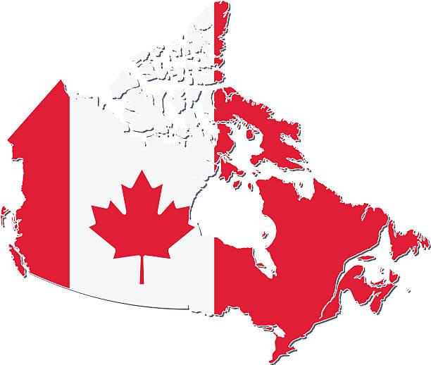 flagge und karte von kanada. - flagge kanada stock-grafiken, -clipart, -cartoons und -symbole