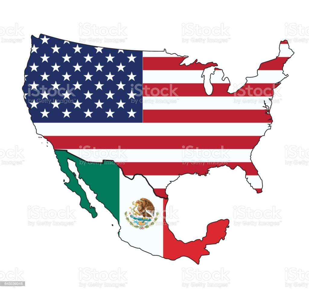 Flag Map Of Usa And Mexico Stock Vector Art & More Images of Blue ...