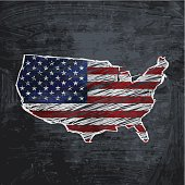 USA flag map on dark chalkboard background