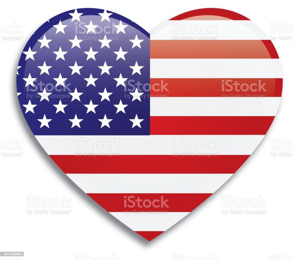 USA Flag Map vector art illustration