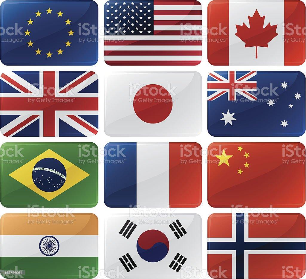 Flag Menu Buttons royalty-free stock vector art