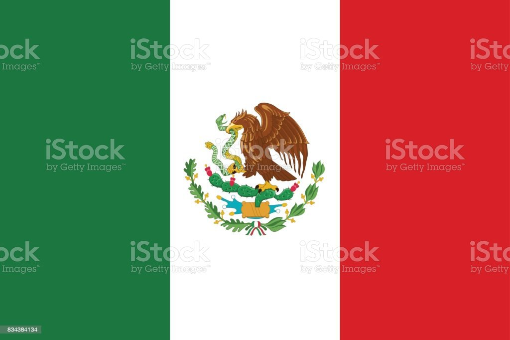 Flag Mexico flat icon vector art illustration
