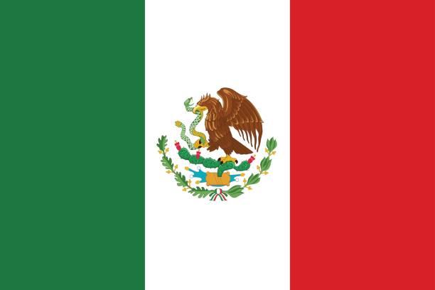 Ícone de plana de México bandeira - ilustração de arte em vetor