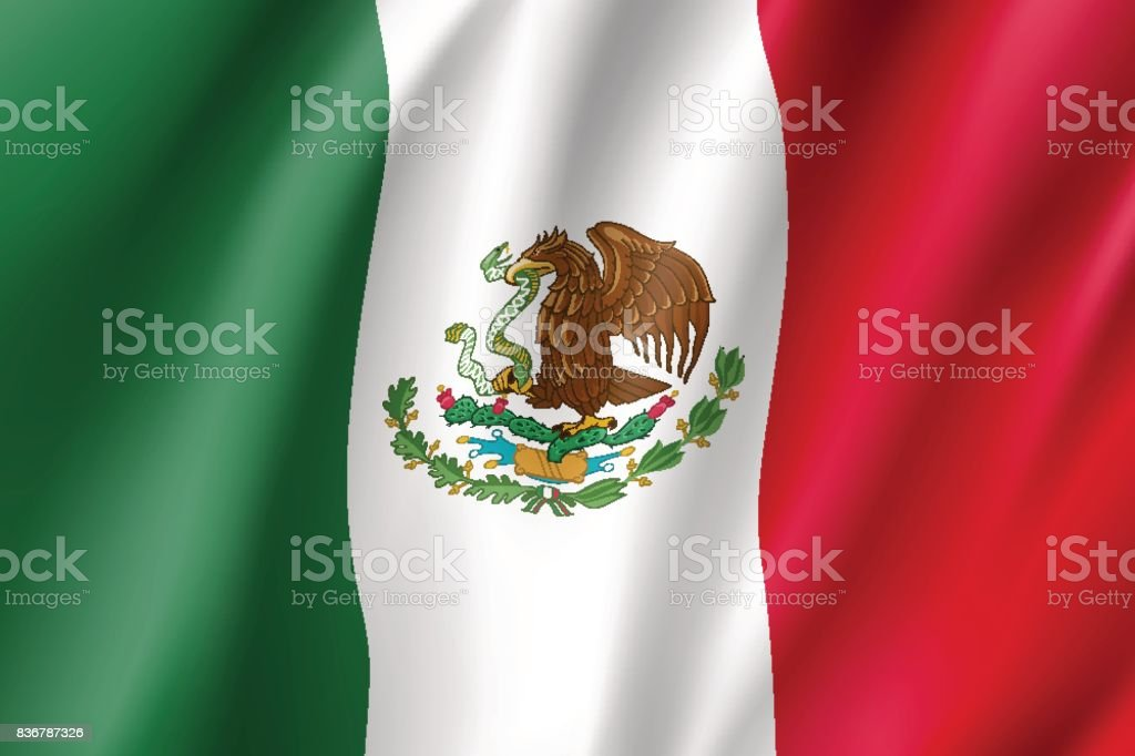 Flag Mexico realistic icon vector art illustration