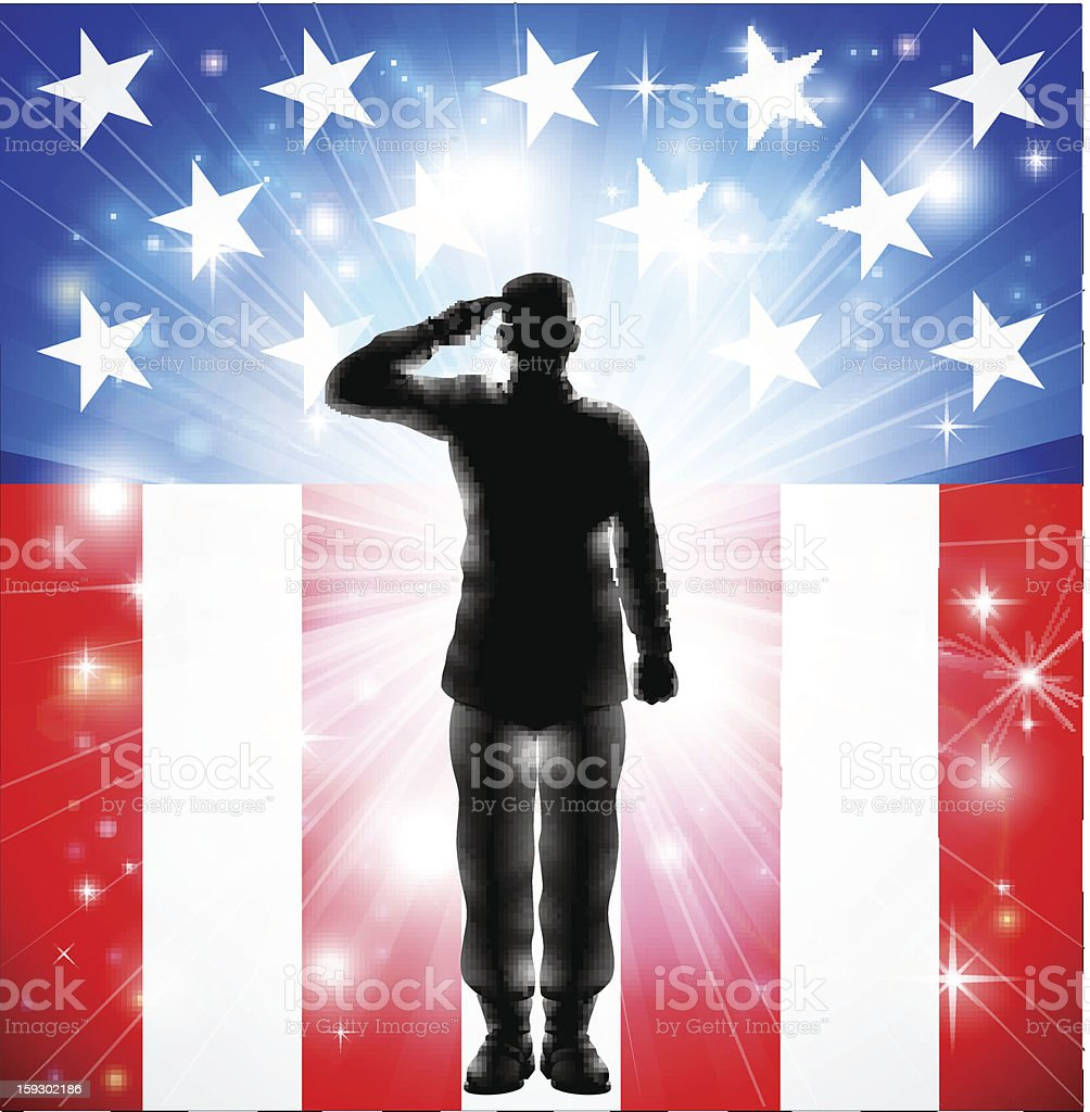 US flag military armed forces soldier silhouette saluting vector art illustration