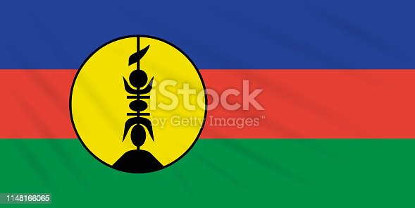 istock Flag New Caledonia swaying in wind, vector 1148166065