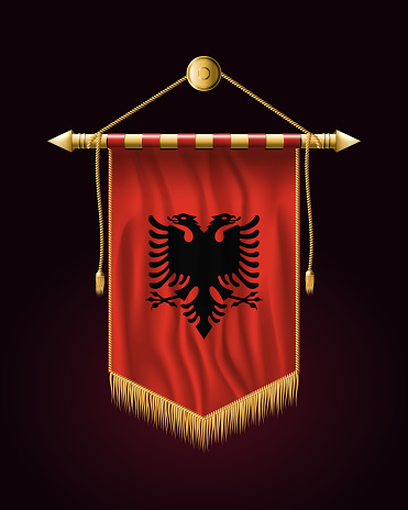 Flag of Albania. Festive Vertical Banner. Wall Hangings with Gold Tassel Fringing